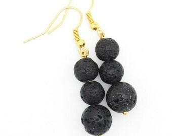 Handmade of semi precious stone earrings lava stone