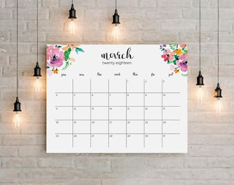 2018 Planner Big Wall Calendar Printable instant gift Floral Watercolor Horizontal Wall Desk Frame Letter Size Sunday Monday 8,5x11/A1