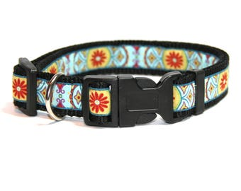 """Dog collar """"Red flower"""" size: S, M, L"""