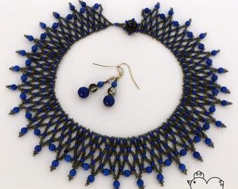 Grey & Blue Beaded Necklace + FREE Earrings