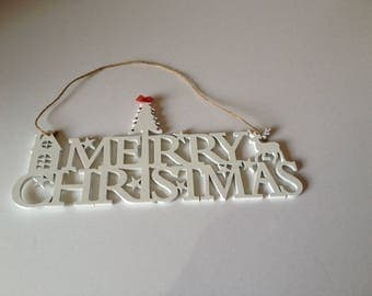 Wooden Christmas Wall Plaque,White Wall Plaque, Merry Christmas Sign, Handmade Wall Decoration, Wooden Wall Decoration, Handmade Gift