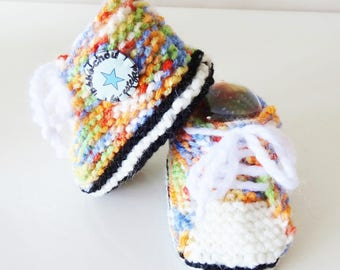 handknitted colorful baby sneakers