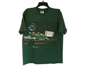 Vintage 1996 Budweiser Frogs Riding Alligator Green T-Shirt Medium/Large FREE SHIPPING!!