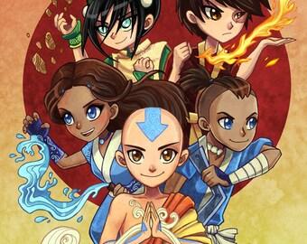 "Avatar Chibi Heroes Art Print 8.5x11"" or 11x17"""