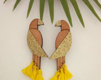 Earrings wooden parrots and tassels