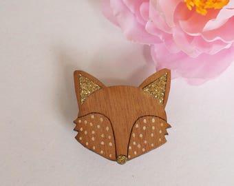 Fox brooch of wood & glitter