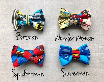 Baby Toddler Boy Superhero Batman, Spiderman, Superman, Wonder Woman bow tie - alligator clip - clip on tie