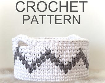 Crochet Basket Pattern, Storage Baskets, Crochet Pattern, Home Decor, Basket, Nursery Decor, Gift, Extreme Knitting, T-shirt Yarn, Pattern