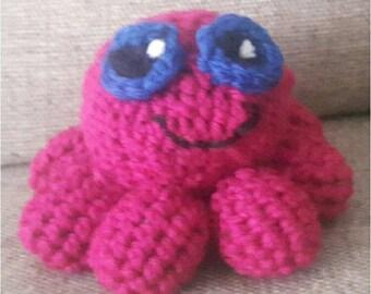 crochet, octopus, amigurumi, stuffed,animal, purple, cute,