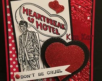 Elvis Valentine Card Pop Up 3D Heartbreak Hotel Don't Be Cruel Elvis Presley Stampin Up OOAK Mixed Media Handmade