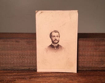 Signed CDV of Union Officer, Identified Civil War CDV, 19th Century Antique Photograph