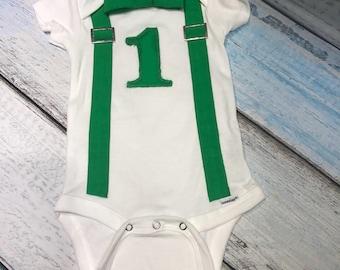Green suspenders bodysuit - St Patricks Day shirt - newborn boy clothing - newborn boy outfit - newborn suspenders - newborn bow tie