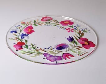 Spring Garland Design Acrylic Cake Plate