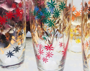 Set of Four Fabulous Bright & Beautiful Vintage Tumblers, Glasses