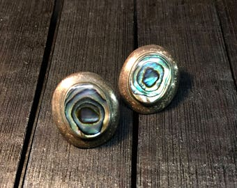 Vintage Sterling Silver/ Abalone Shell Earrings  #259