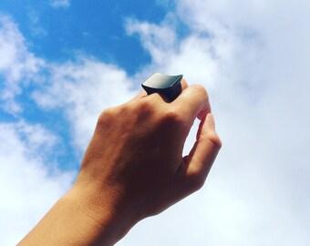Matte black resin ring - modern design - japan ring - minimal resin ring - minimalist ring - statement ring - cocktail ring