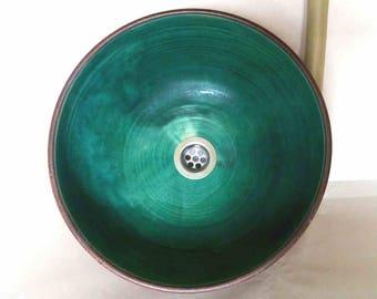 Washbasin turquoise Ø 35 H 15 cm