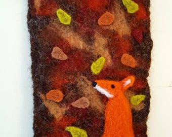 Wet and needle felted autumn fox wall hanging
