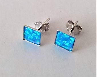 Blue Emulated Opal Stud Earrings, Small Sterling Silver Stud Earrings, Small Silver Post Earrings, Modern Minimalist Everyday Earrings.