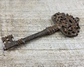 Skeleton Key, Old Key, Antique Key, Victorian Key, Large Key, Rustic Brown Key, Decorative Key, Wedding Decoration, House Warming Gift