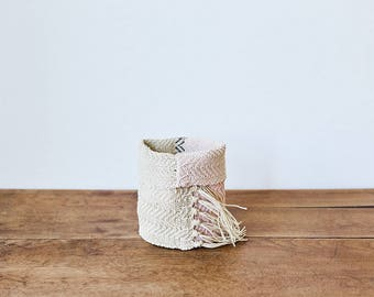 Small Handoven Hemp Basket in Pink, Khaki & Natural