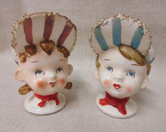 Vintage Boy and Girl Train Engineer Salt and Pepper Shakers