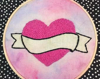CUSTOM Tatto Heart Hand Embroidered Hoop Art - Customize with the Quote or Words of Your Choice