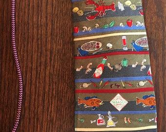 Men's Designer Neck Tie TABASCO 100% Silk  Lobsters, Fish, Shrimp, Peppers, Veg, etc.