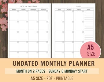A5 Monthly Planner Inserts, Undated Calendar, Printable Planner, A5 Filofax Inserts, Kikki K, Month on 2 Pages, Monthly Goals, To Do List