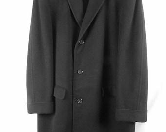 Crombie of Scotland Mens Black Dress Coat Wool & Cashmere Tailored Vintage 1950s 1960s Overcoat Fancy Wedding Costume Dapper Businessman