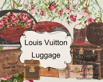 Watercolor Louis Vuitton, Vuitton Luggagend Trunks, Watercolor Vintage Car, Planner Clipart, Sticker Clipart. No. WC98