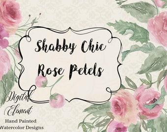 Watercolor Roses, Shabby Pink Roses in Watercolor, Hand Painted Florals, Pink, Rose, Leaves and Vines in Watercolors. No. WC100