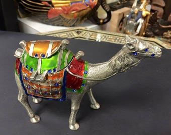 Amazing Unique  Camel Jewelry Box Statue Hand Painted Made in Egypt