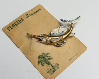 Vintage Swordfish Figural Goldtone Souvenier Brooch Pin