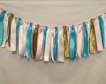 Fabric Garland/Turquoise Garland/Gender Reveal Decor/Country Wedding/High Chair Garland/Pink Garland/Nursery Room Decor/Ribbon Garland