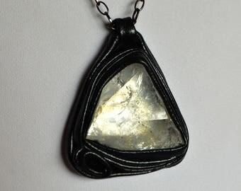 Crystal pendant, Raw Crystal pendant, leather pendant with crystal, Crystal pendant, Healing crystal, Amulet crystal