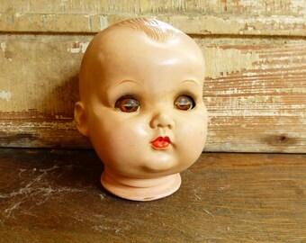 Vintage Creepy Doll Head Sleepy Eye Composition IDEAL 1940s