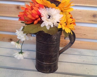 Sunflower Arrangement, Sunflower Floral, Fall Arrangement, Thanksgiving Centerpiece, Thanksgiving Floral, Pitcher Floral, Rustic Pitcher