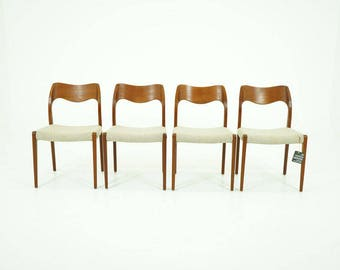 308-084 Danish Mid Century Modern 4 Teak Dining Side Chairs by Niels Moller 71