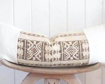 African Fulani Mudcloth Lumbar Pillow Cover Cream Beige Tribal Vintage Boho with 100% Belgian Linen Backing Exposed Gold Zipper