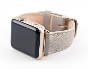 Apple Watch Band-Raised Chevre Leather Taupe 38MM
