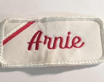 Arnie   1970 Vintage Uniform Patch   NOS Vintage Uniform Sew On/ Iron On   Jacket Mechanic Trucker Embroidered Rockabilly Punk Name Tag