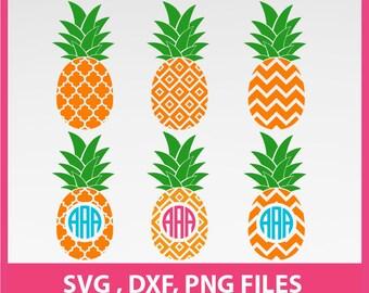 Pineapple SVG, Pineapple Monogram Frame Svg, DXF, PNG Formats 0057