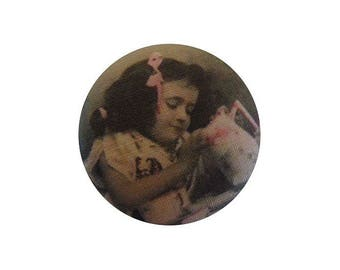 x 1 cabochon 19mm vintage BOUT19 girl fabric