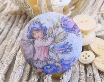 1 button x 22mm 2 BOUT8 flower fairy fabric