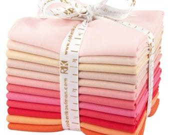 KONA  (12) Fat Quarter Fabric Bundle - Robert Kaufman - Blushing - pink, orange, solids, blenders