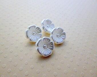 White Czech glass Pearl 12 mm - BCZ12 1216 4 buttons