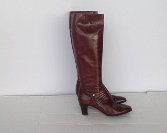 sz 7.5 aa  vintage FERRAGAMO brown leather boots made in ITALY
