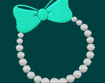 Monogram Frame Pearls with Bow