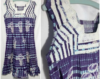 Vintage 1940s Purple Eyelet Dress // XS-S